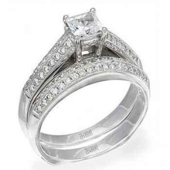 Elegant Zeghani Diamond Engagement Ring and Band Set