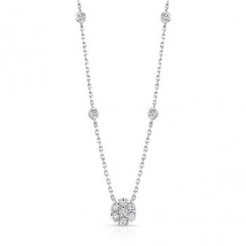 14K White Gold Shared Prong Diamond Necklace NEK132