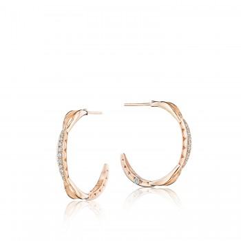 Petite Crescent Curve Hoop Earrings featuring Diamonds se196p