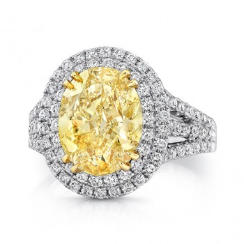 Uneek Natureal Yellow Oval Diamond Engagement Ring SM816