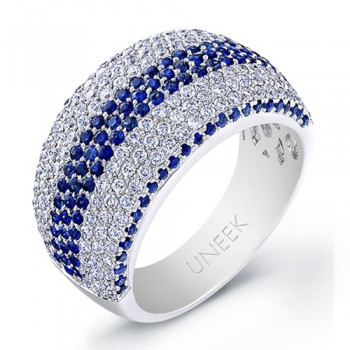 Saphisto Collection 18K White Gold Round Sapphire and Diamond Ring WB196